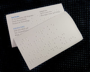 business card with braille embossing