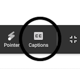 A zoom in picture of the black circle with CC Captions in it.